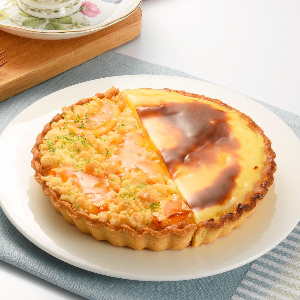 橙香起司烤布丁雙享派-6吋